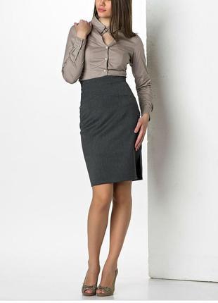 Серая новая юбка карандаш в офис. классическая юбка. деловой стиль.
