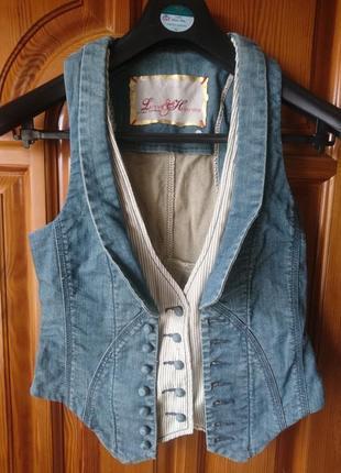 Стрейч тертая джинсовая жилетка по груди 88см