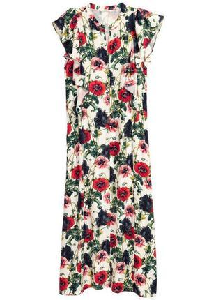 Платье макси цветы-красные маки