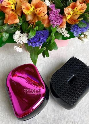 Компактная расческа для волос с крышкой, розовая к.16016