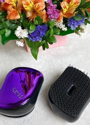 Компактная расческа для волос с крышкой, фиолетовая к.16016