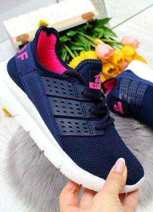 Яркие темно синие текстильные женские кроссовки