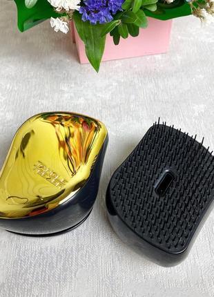 Компактная расческа для волос с крышкой, золотистая к.16016