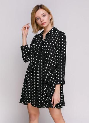 Платье рубашка zara в горошек вискоза