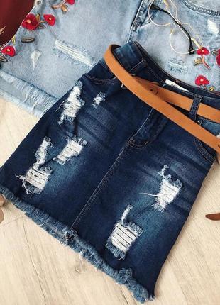 Юбка джинсовая с рваностями