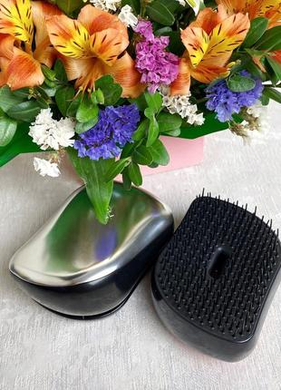 Компактная расческа для волос с крышкой, серебристая к.16016