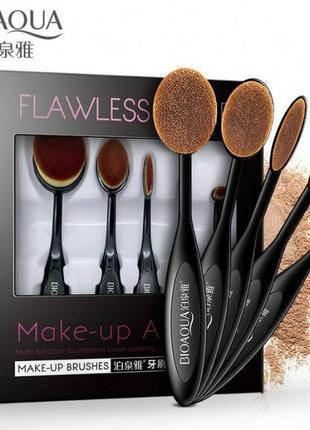 Набор овальных кистей для нанесения макияжа 5шт bioaqua