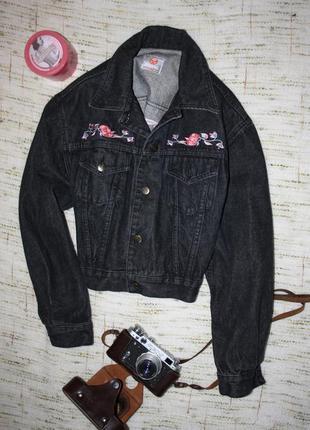 Джинсовый пиджак с вышивкой италия stefanel. винтажный пиджак . куртка