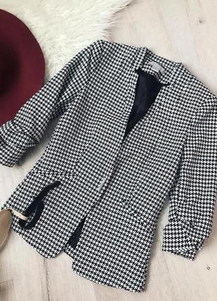 Твидовый пиджак (принт гусинная лапка)