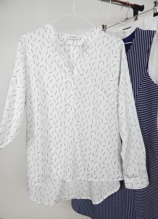 Стильная базовая белая блуза рубашка в принт полосочки