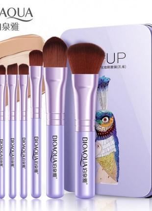 Набор кистей для нанесения макияжа в металлическом футляре 7шт bioaqua