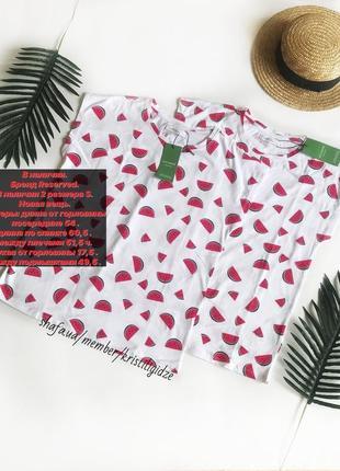Новая белая футболка с арбузами р. s