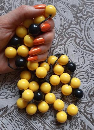 Бусы крупные длинные ожерелье шар жёлт чёрн бижу пластик аксессуар стильный бусин
