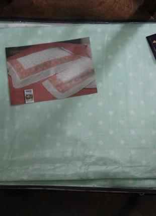 Двуспальный комплект белья евро, хлопок, простынь на резинке 190 на 220