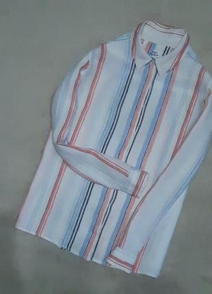 Льняная рубашка  100% лён в полоску размер 10-12 marks & spencer