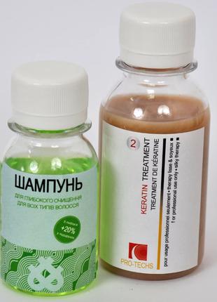 Кератин для выпрямления волос keratin treatment pro-techs 50 х 30 мл мини набор
