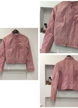 Крутая натуральная кожаная розовая /нюдовая куртка /кожанка /косуха / италия / кожа высшего уровня /
