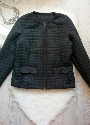 Черная деми стеганая куртка ветровка на молнии батал большой размер короткая теплая