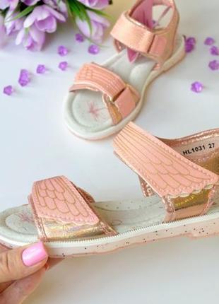 Модные 🔥🤩 розовые босоножки с блестящей силиконовой подошвой, кожаная стелька