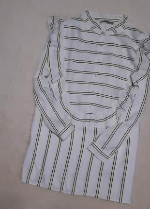 Новая блуза вискоза в полоску с оборками размер 18 tu