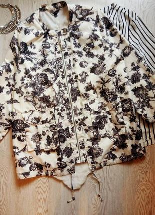 Белая куртка легкая ветровка парка черным цветочным рисунк батал большой размер дождевик