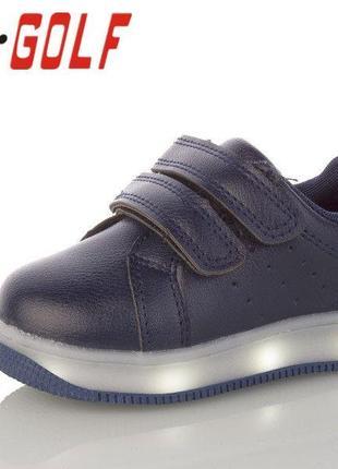Детские синие led кроссовки для мальчика или девочки р.25-30