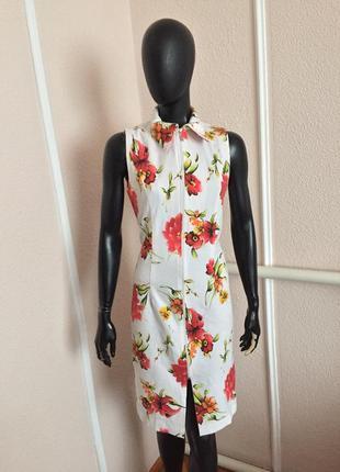 Нежное платье миди сарафан в цветах
