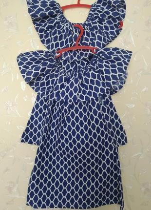 Платье хлопок сарафан с волоном фемели лук платье для двойни