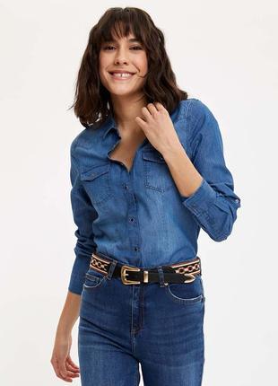 Рубашка джинсовая синяя голубая ostin блузка деним