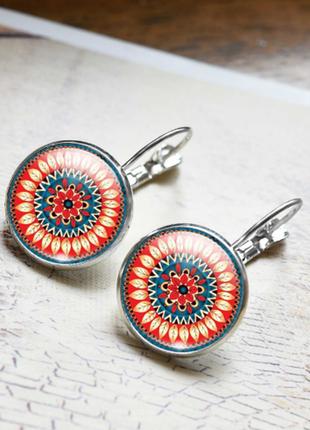 Стильные удобные 3d серьги серёжки индийская мандала бохо этно стиль