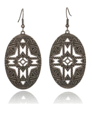 Стильные серьги серёжки с орнаментами бохо этно стиль