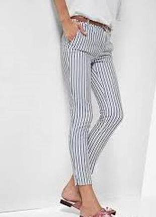 Штаны брюки летние в полоску серую темно синюю белые stradivarius