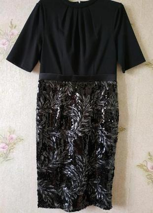 Розкошное вечернее нарядное платье миди футляр юбка в пайетках phase eight