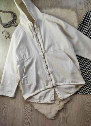 Белая натуральная короткая длинная куртка ветровка на молнии капюшоном карманами оверсайз