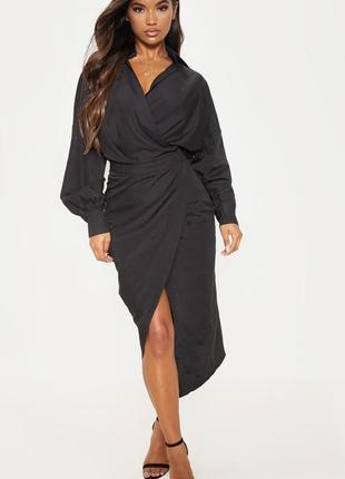 Длинное платье на запах 🔥 платье чёрное макси prettylittlething 🔥