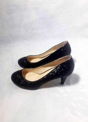 Распродажа! классические, блестящие туфли лодочки, черный глиттер