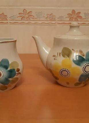Набор заварочный чайник и молочник