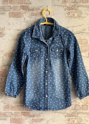Рубашка джинсовая в сердечки george 5 лет