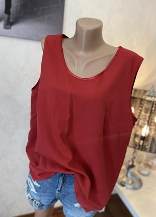 Красная блуза майка футболка красного цвета большого размера