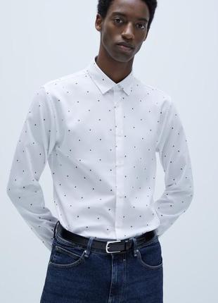 Біла сорочка zara slim fit m (46/48)