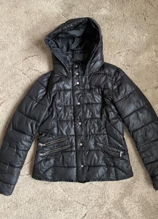 Шикарная/осенняя/весенняя/чёрная/куртка/с капюшоном/тёплая