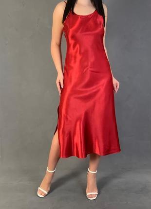 Платье комбинация миди в бельевом стиле с кружевом