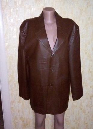Фирменная 100% кожаная куртка/кожаный пиджак/куртка/плащ/пальто/