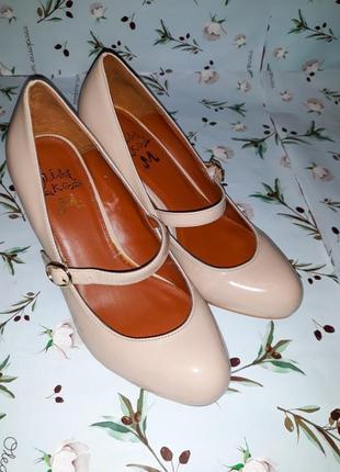 🌿1+1=3 стильные бежевые туфли на среднем каблуке miss kg coco, размер 37