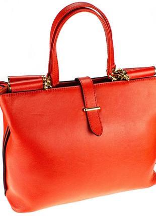 Кожаная сумка женская eminsa 40006 турция коралловая