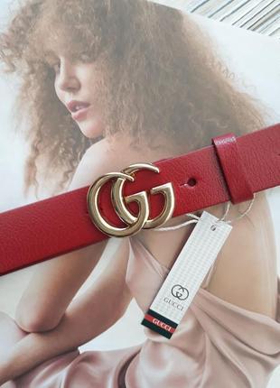 Ремень женский кожаный красный в стиле gucci