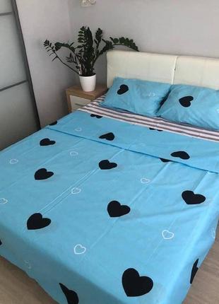 Постельное белье сердечки на голубом