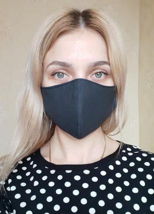 Маска защитная трёхслойная для лица чёрная