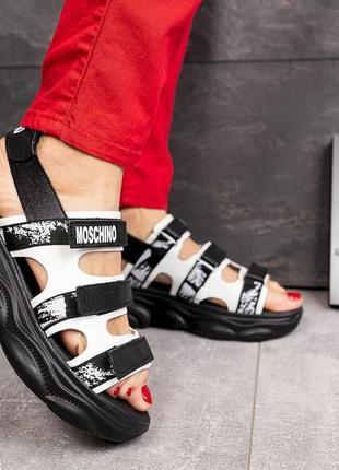 Женские кожаные черные сандалии, супер-качество!