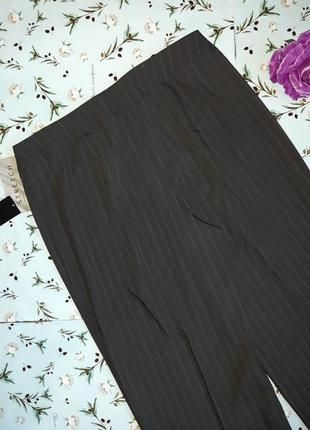 🌿1+1=3 классические высокие брюки шерсть в полоску свободного прямого кроя, размер 50 - 523 фото